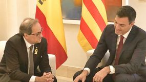 Cara a cara entre Pedro Sánchez y Quim Torra en La Moncloa
