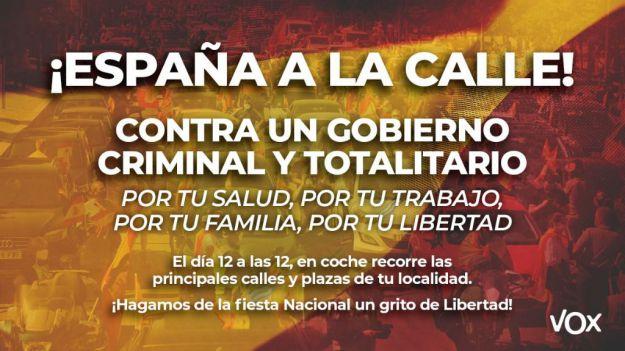 Vox anima a los españoles a echarse a las calles 'en coche y con la bandera de la libertad, la de España'