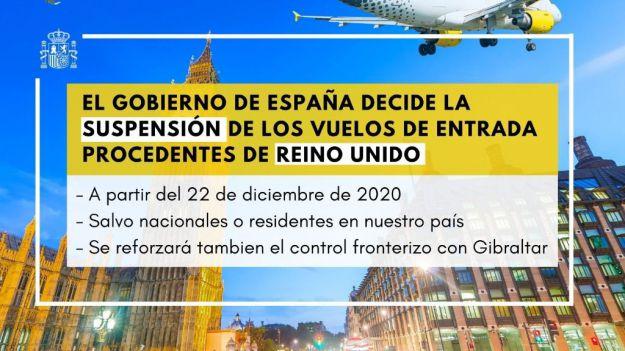 Desde este martes se suspenden los vuelos de entrada a España procedentes del Reino Unido