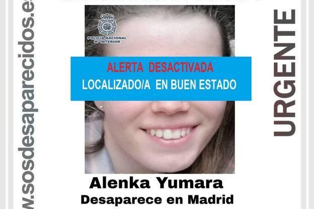 Alenka Yumara, la menor que desapareció en Madrid, encontrada en buen estado