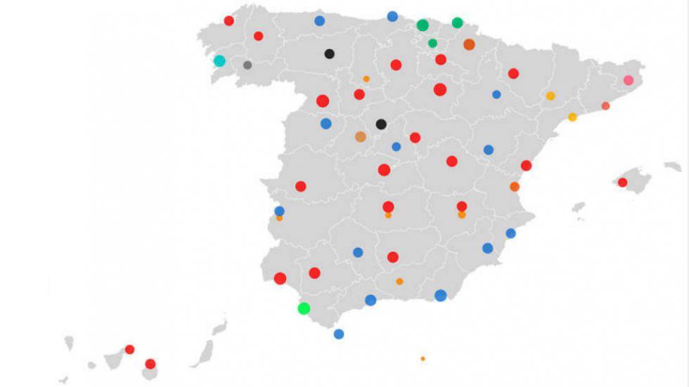 Constitución de ayuntamientos provincia por provincia