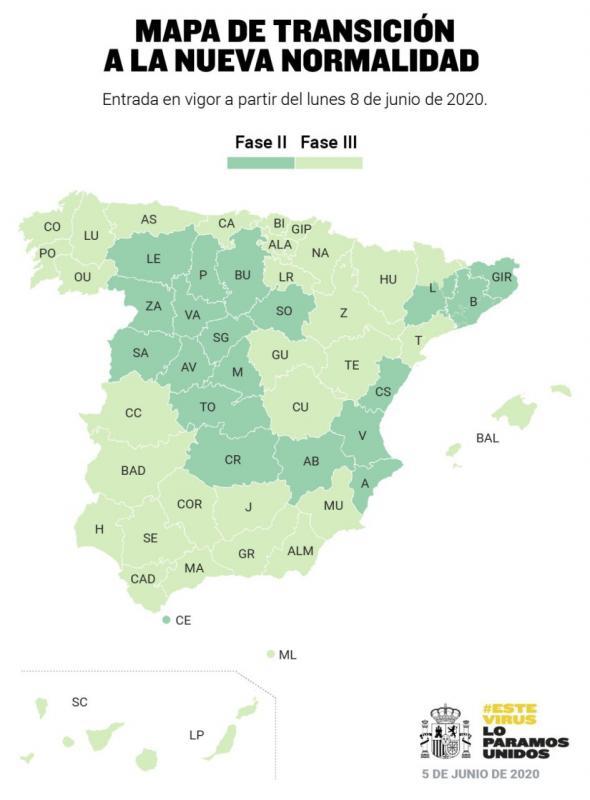 España dividida a partir del lunes entre la fase 2 y la 3 del plan de desescalada