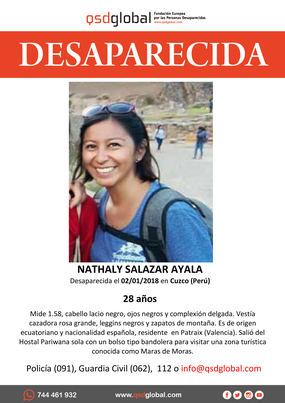 Agentes especializados de la Policía Nacional participan en Perú en las investigaciones por la desaparición de Nathaly Salazar
