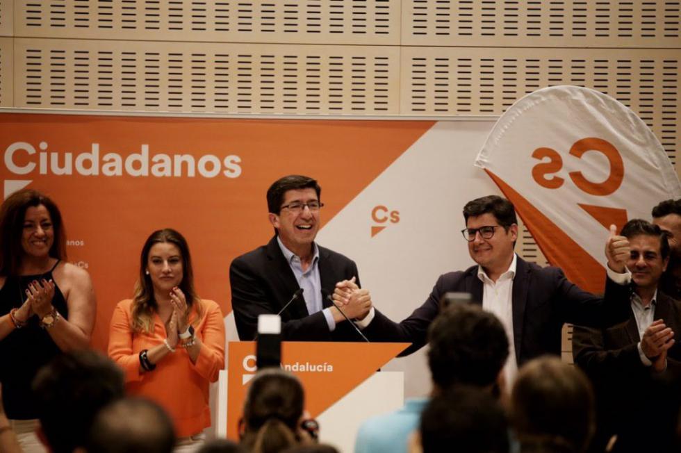 """Juan Marín: """"Cs se ha consolidado en Andalucía como tercera fuerza triplicando su número de concejales"""""""